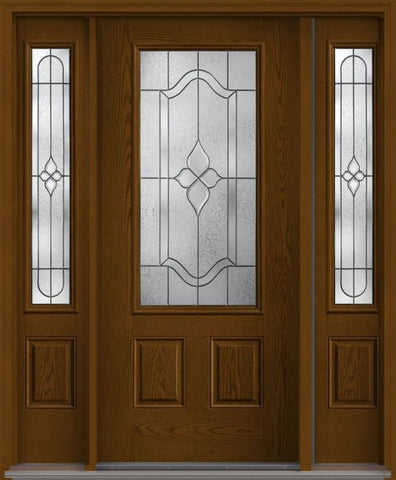 WDMA 62x80 Door (5ft2in by 6ft8in) Exterior Oak Concorde 3/4 Lite 2 Panel Fiberglass Door 2 Sides 1