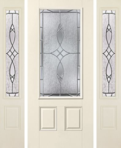 WDMA 62x80 Door (5ft2in by 6ft8in) Exterior Smooth Blackstone 3/4 Lite 2 Panel Star Door 2 Sides 1
