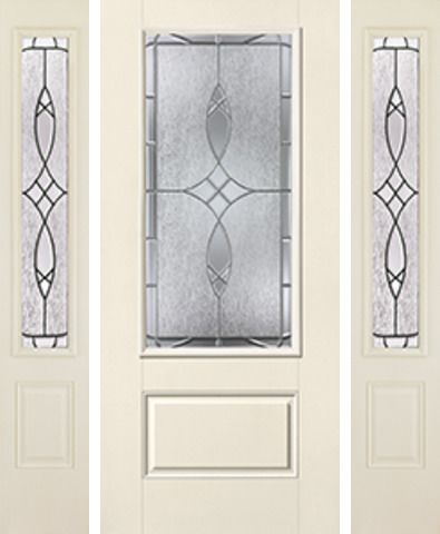 WDMA 62x80 Door (5ft2in by 6ft8in) Exterior Smooth Blackstone 3/4 Lite 1 Panel Star Door 2 Sides 1
