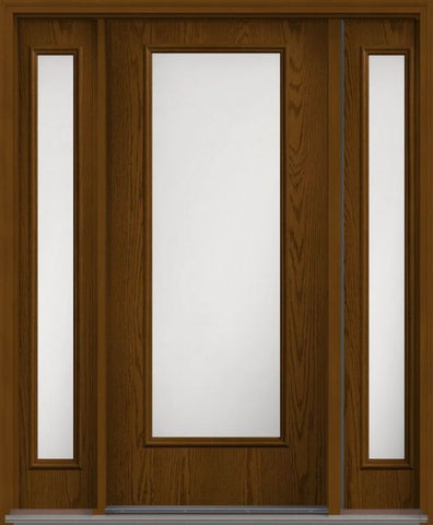 WDMA 62x80 Door (5ft2in by 6ft8in) Patio Oak Satin Etch Full Lite Flush Fiberglass Exterior Door 2 Sides 1