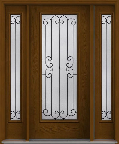WDMA 62x80 Door (5ft2in by 6ft8in) Exterior Oak Riserva Full Lite W/ Stile Lines Fiberglass Door 2 Sides HVHZ Impact 1
