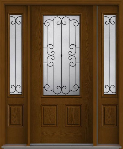 WDMA 62x80 Door (5ft2in by 6ft8in) Exterior Oak Riserva 3/4 Lite 2 Panel Fiberglass Door 2 Sides 1