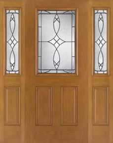 WDMA 62x80 Door (5ft2in by 6ft8in) Exterior Oak Fiberglass Impact Door 1/2 Lite Blackstone 6ft8in 2 Sidelight 1