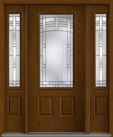 WDMA 62x80 Door (5ft2in by 6ft8in) Exterior Oak Maple Park 3/4 Lite 2 Panel Fiberglass Door 2 Sides 1