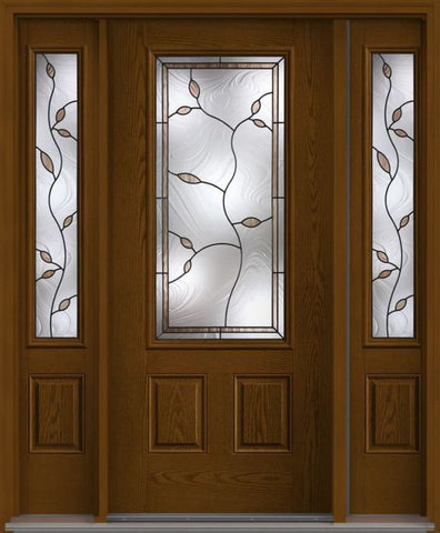 WDMA 62x80 Door (5ft2in by 6ft8in) Exterior Oak Avonlea 3/4 Lite 2 Panel Fiberglass Door 2 Sides 1