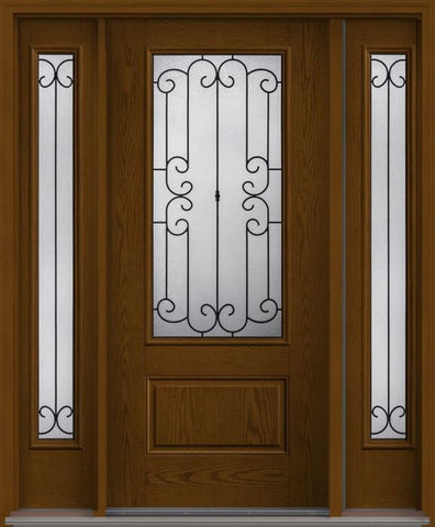 WDMA 62x80 Door (5ft2in by 6ft8in) Exterior Oak Riserva 3/4 Lite 1 Panel Fiberglass Door 2 Sides HVHZ Impact 1