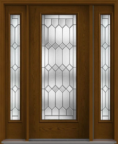 WDMA 62x80 Door (5ft2in by 6ft8in) Exterior Oak Crystalline Full Lite W/ Stile Lines Fiberglass Door 2 Sides 1
