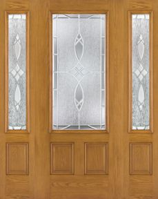 WDMA 62x80 Door (5ft2in by 6ft8in) Exterior Oak Fiberglass Door 3/4 Lite Blackstone 6ft8in 2 Sidelight 1