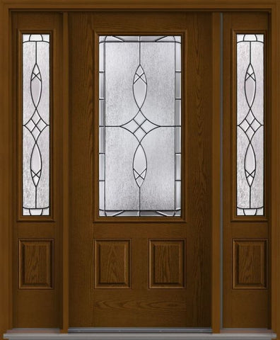 WDMA 62x80 Door (5ft2in by 6ft8in) Exterior Oak Blackstone 3/4 Lite 2 Panel Fiberglass Door 2 Sides 1