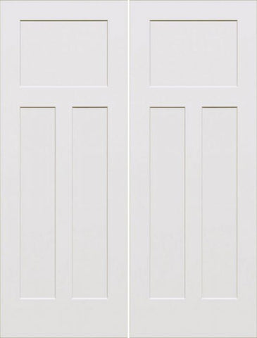 WDMA 64x80 Door (5ft4in by 6ft8in) Interior Barn Smooth 80in Craftsman III 3 Panel Shaker Solid Core Double Door|1-3/4in Thick 1