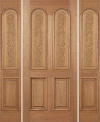 WDMA 64x80 Door (5ft4in by 6ft8in) Exterior Mahogany Legacy Single Door/2side Carved Panel 1