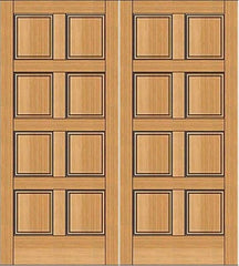 WDMA 64x80 Door (5ft4in by 6ft8in) Exterior Fir 1-3/4in 8 Panel Double Door 1