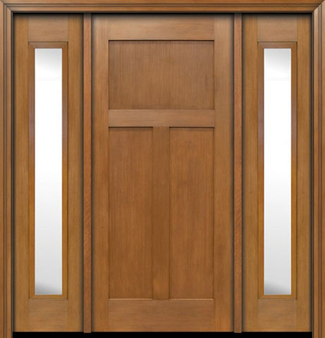 WDMA 64x80 Door (5ft4in by 6ft8in) Exterior Fir Craftsman 3 Panel Single Entry Door Sidelights 1