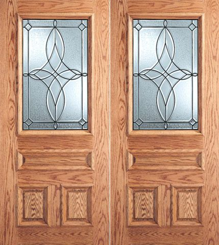 WDMA 64x80 Door (5ft4in by 6ft8in) Exterior Mahogany Diamond Design Decorative Glass 3-Panel 1/2 Lite Front Double Door 1