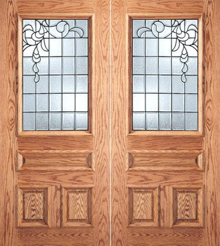 WDMA 64x80 Door (5ft4in by 6ft8in) Exterior Mahogany Grid Design Decorative Glass 3-Panel 1/2 Lite Front Double Door 1