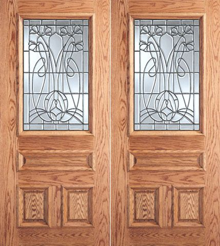 WDMA 64x80 Door (5ft4in by 6ft8in) Exterior Mahogany Vase with Flowers Design Glass 3-Panel 1/2 Lite Double Door 1