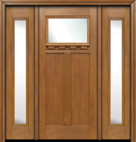 WDMA 64x80 Door (5ft4in by 6ft8in) Exterior Fir Craftsman Top Lite Single Entry Door Sidelights 1