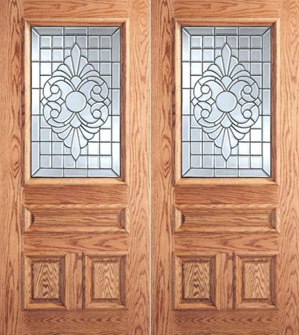 WDMA 64x80 Door (5ft4in by 6ft8in) Exterior Mahogany Scrollwork Grid Design Glass 3-Panel 1/2 Lite Double Door 1