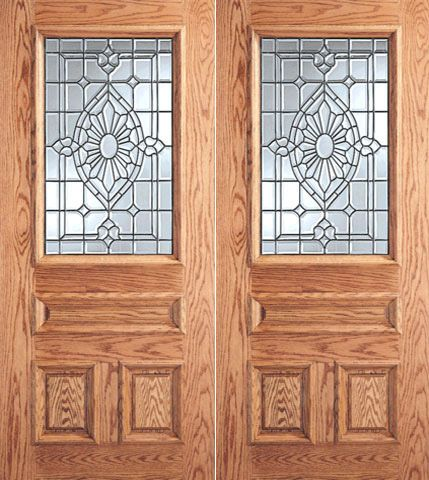 WDMA 64x80 Door (5ft4in by 6ft8in) Exterior Mahogany Floral Grid Design Glass 3-Panel 1/2 Lite Double Door 1