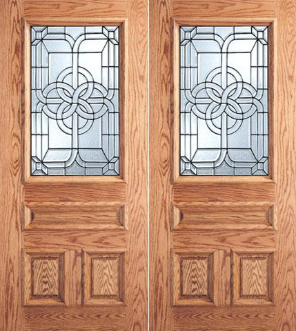 WDMA 64x80 Door (5ft4in by 6ft8in) Exterior Mahogany Celtic Design Decorative Glass 3-Panel 1/2 Lite Front Double Door 1