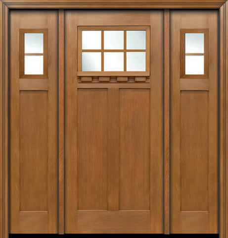 WDMA 64x80 Door (5ft4in by 6ft8in) Exterior Fir Craftsman Top 6 Lite Single Entry Door Sidelights 1