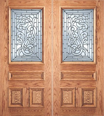 WDMA 64x80 Door (5ft4in by 6ft8in) Exterior Mahogany Asymmetrical Floral Scrollwork Glass 3-Panel 1/2 Lite Double Door 1