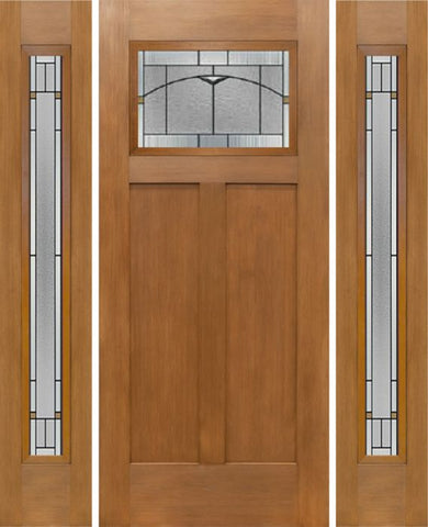 WDMA 64x80 Door (5ft4in by 6ft8in) Exterior Fir Craftsman Top Lite Single Entry Door Sidelights TP Glass 1