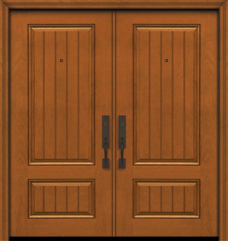 WDMA 64x80 Door (5ft4in by 6ft8in) Exterior Mahogany 80in Double 2 Panel Square V-Grooved Door 1