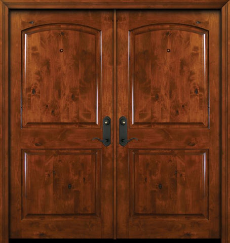 WDMA 64x80 Door (5ft4in by 6ft8in) Exterior Knotty Alder 80in Double Arch 2 Panel Estancia Alder Door 1