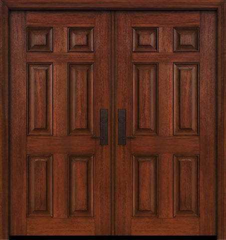 WDMA 64x80 Door (5ft4in by 6ft8in) Exterior Cherry IMPACT | 80in Double 6 Panel Door 1
