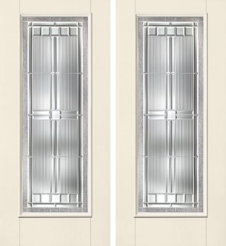 WDMA 64x80 Door (5ft4in by 6ft8in) Exterior Smooth SaratogaTM Full Lite W/ Stile Lines Star Double Door 1
