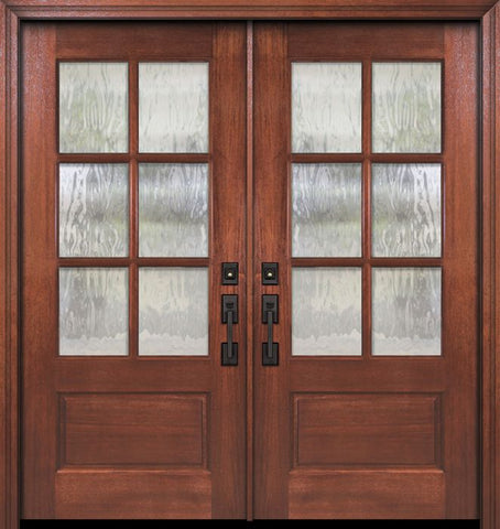 WDMA 64x80 Door (5ft4in by 6ft8in) Exterior Mahogany 80in Double 2/3 Lite 6 Lite SDL DoorCraft Door 1
