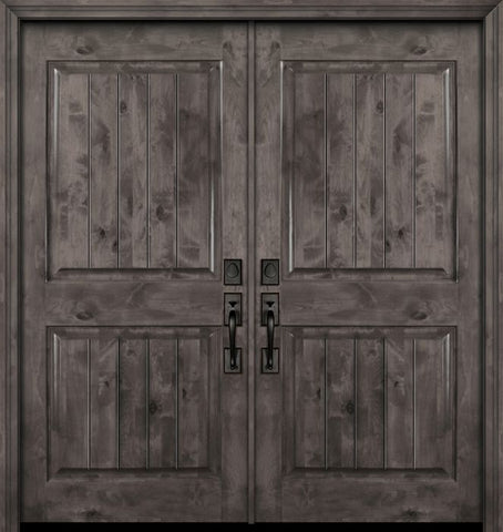 WDMA 64x80 Door (5ft4in by 6ft8in) Exterior Knotty Alder 80in Double 2 Panel Square V-Grooved Estancia Alder Door 1