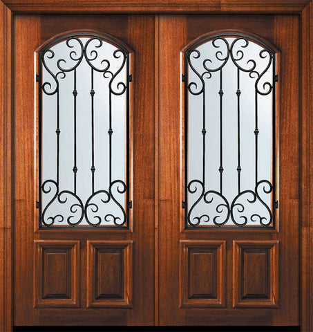 WDMA 64x80 Door (5ft4in by 6ft8in) Exterior Mahogany 80in Double Arch Lite Valencia Door 1