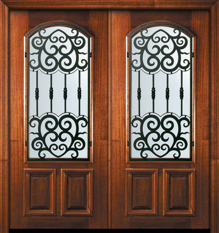 WDMA 64x80 Door (5ft4in by 6ft8in) Exterior Mahogany 80in Double Arch Lite Barcelona Door 1