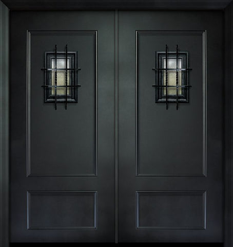 WDMA 64x80 Door (5ft4in by 6ft8in) Exterior 80in ThermaPlus Steel 2 Panel Double Door with Speakeasy 1