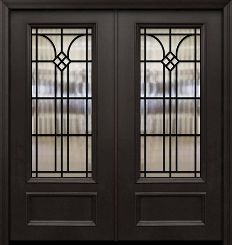 WDMA 64x80 Door (5ft4in by 6ft8in) Exterior 80in ThermaPlus Steel Cantania 1 Panel 3/4 Lite GBG Double Door 1
