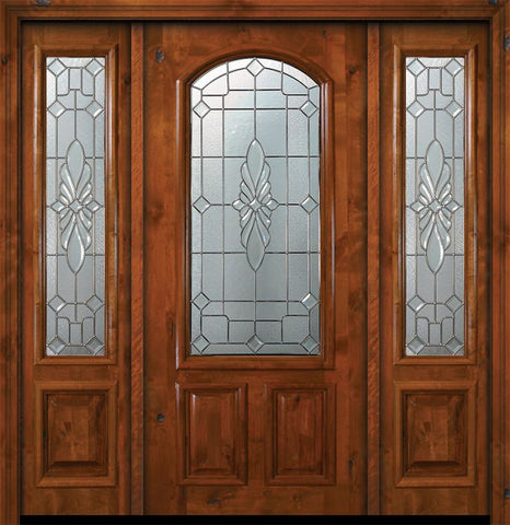 WDMA 64x80 Door (5ft4in by 6ft8in) Exterior Knotty Alder 36in x 80in Versailles Arch Lite Alder Door /2side 1