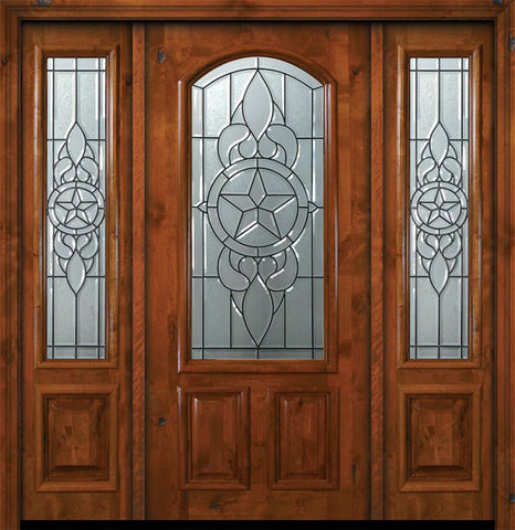 WDMA 64x80 Door (5ft4in by 6ft8in) Exterior Knotty Alder 36in x 80in Brazos Arch Lite Alder Door /2side 1