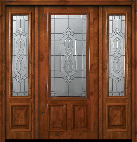 WDMA 64x80 Door (5ft4in by 6ft8in) Exterior Knotty Alder 36in x 80in 2/3 Lite Kensington Alder Door /2side 1