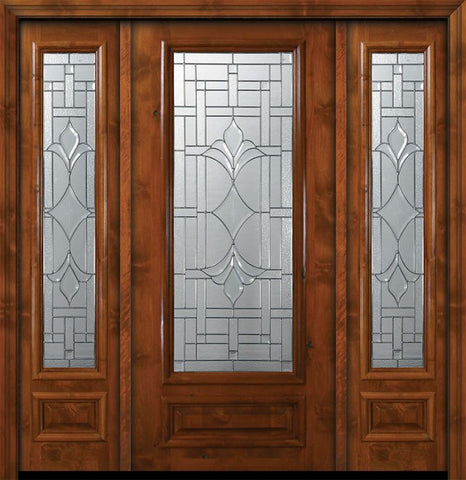 WDMA 64x80 Door (5ft4in by 6ft8in) Exterior Knotty Alder 36in x 80in 3/4 Lite Marsala Alder Door /2side 1