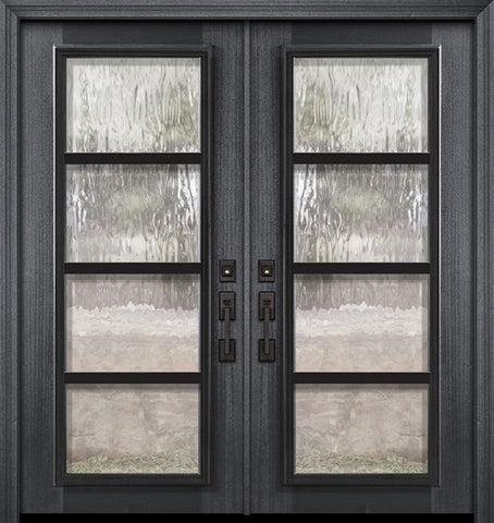 WDMA 64x80 Door (5ft4in by 6ft8in) Exterior Mahogany 80in Double Full Lite Urban Steel Grille Portobello Door 1