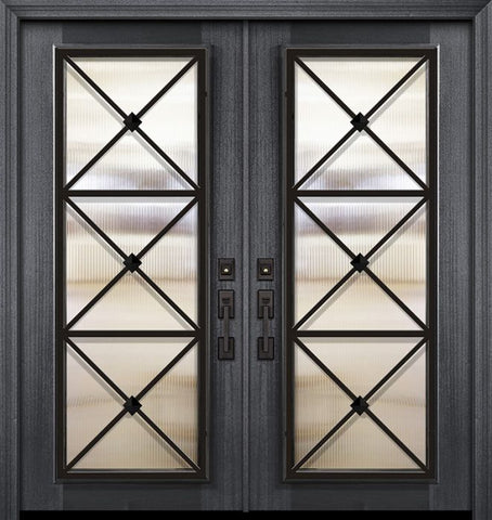 WDMA 64x80 Door (5ft4in by 6ft8in) Exterior Mahogany 80in Double Full Lite Republic Portobello Door 1