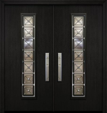 WDMA 64x80 Door (5ft4in by 6ft8in) Exterior Mahogany 80in Double Malibu Contemporary Door with Speakeasy 1
