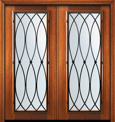 WDMA 64x80 Door (5ft4in by 6ft8in) Exterior Mahogany 80in Double Full Lite La Salle Door 1