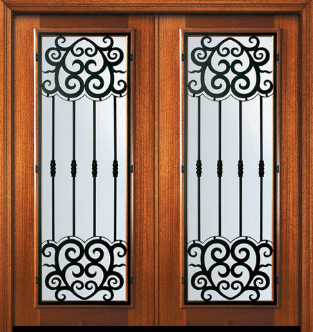 WDMA 64x80 Door (5ft4in by 6ft8in) Exterior Mahogany 80in Double Full Lite Barcelona Door 1