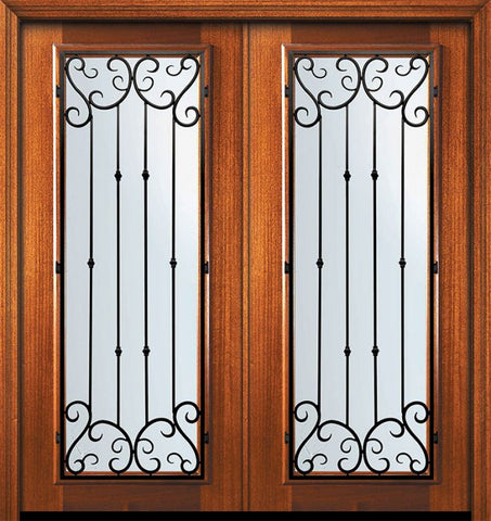 WDMA 64x80 Door (5ft4in by 6ft8in) Exterior Mahogany 80in Double Full Lite Valencia Door 1