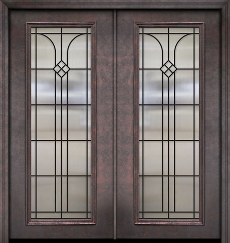 WDMA 64x80 Door (5ft4in by 6ft8in) Exterior 80in ThermaPlus Steel Cantania 1 Panel Full Lite GBG Double Door 1