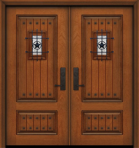 WDMA 64x80 Door (5ft4in by 6ft8in) Exterior Mahogany IMPACT | 80in Double 2 Panel Square V-Grooved Door with Speakeasy / Clavos 1
