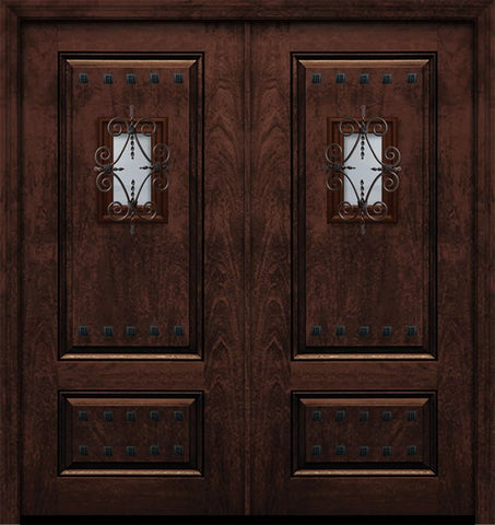 WDMA 64x80 Door (5ft4in by 6ft8in) Exterior Mahogany IMPACT | 80in Double 2 Panel Square Door with Speakeasy / Clavos 1
